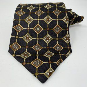 Valentino Mens Cravatte Gold Black Tie Silk Italy
